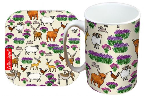 Selina-Jayne Scottish Highlands Limited Edition Designer Mug and Coaster Set